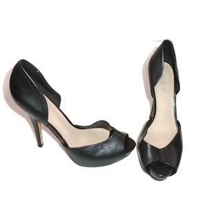 Aldo Black Peep Toe Heels Pumps Faux Leather 8.5